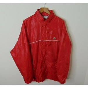 Vintage 90s Lacoste Xl Windbreaker Jacket Red Hood